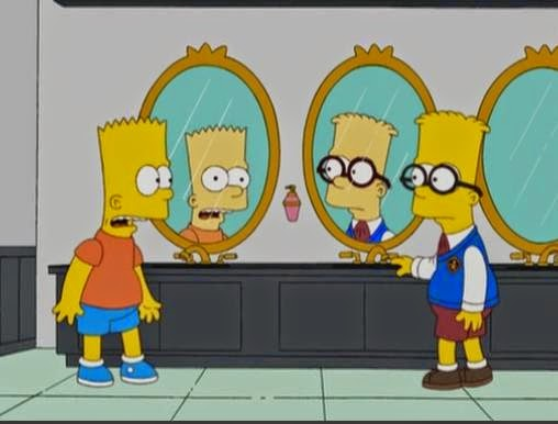 """Bart et son jumeau dans """"L'échange"""" (""""Double, Double, Boy in Trouble,"""" saison 20, épisode 3 de la série Les Simpson)"""