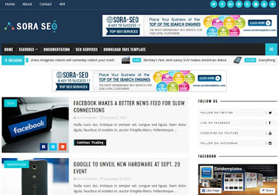 Sora Seo Premium Paid Blogger Template Full Version Free Download