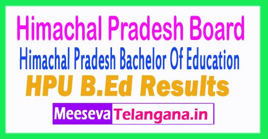 Himachal Pradesh B.Ed Entrance Results HPU B.Ed Result 2018