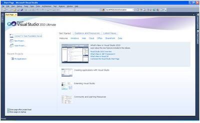 Visual Studio 2010 - Start Page