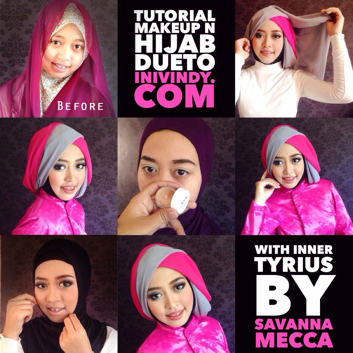 Tutorial Hijab Pesta Segi Empat 2 Warna Tutorial Hijab Paling