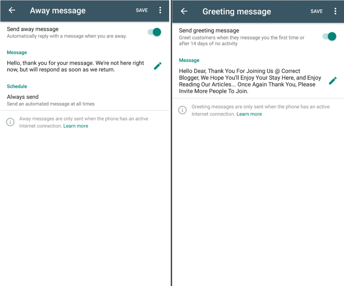 whatsapp business messaging features