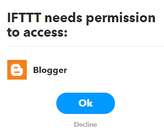 IFTT bloggre need permission for auto blogging