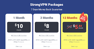 Pricing and Plan For Strong VPN