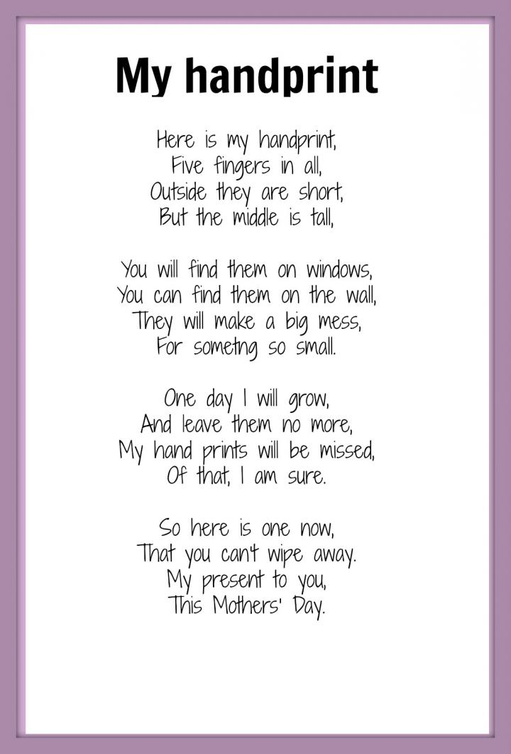 Mother s day poem from baby kids daughter and son for Mother
