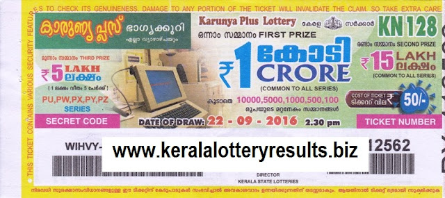 Official result of Kerala lottery Karunya plus_KN-159