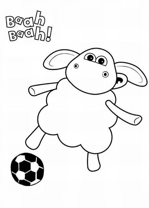 Tranh tô màu cừu Timmy đá bóng