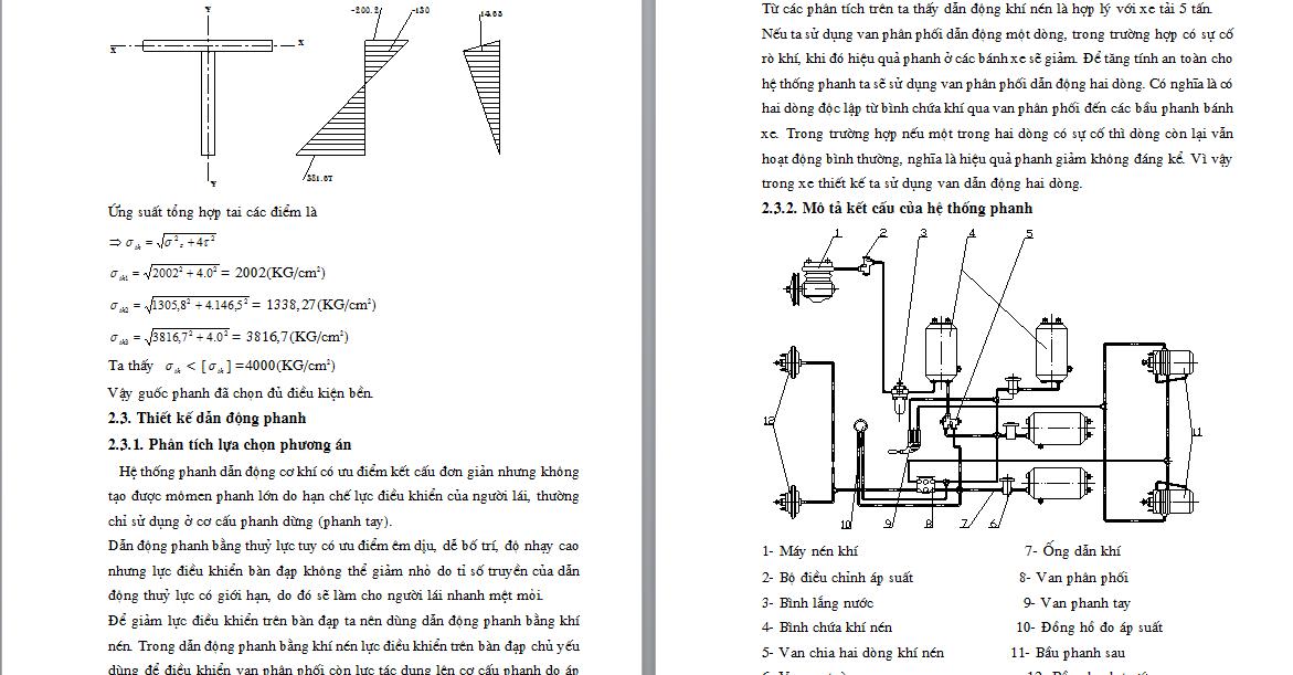 Đồ án thiết kế hệ thống phanh khí cho xe tải
