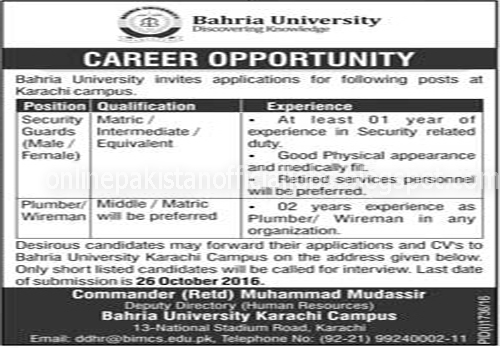 Security Guards Jobs in Bahria University Karachi