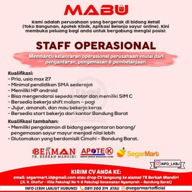 lowongan kerja staff operasional mabu bandung
