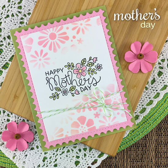 Mother's Day card by Jennifer Jackson | Mother's Day Stamp Set, Framework Die Set and Bold Blooms Stencil by Newton's Nook Designs #newtonsnook #handmade