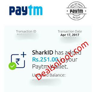 sharkid paytm cash proof