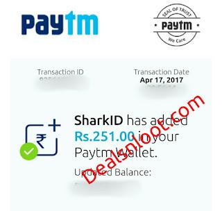 sharkid paytm cash proof