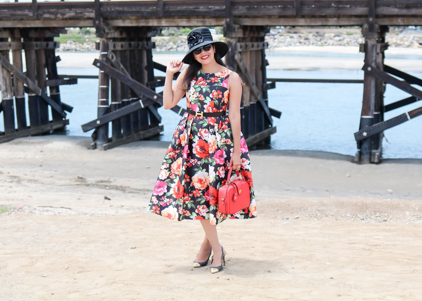 best of san diego fashion blogger, chicwish midi floral dress, what to wear to del mar opening day
