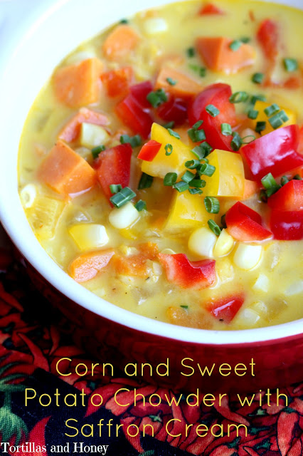 Corn and Sweet Potato Chowder with Saffron Cream | Tortillas and Honey