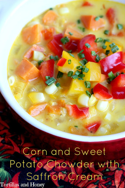 Corn and Sweet Potato Chowder with Saffron Cream (#SoupSwapParty)