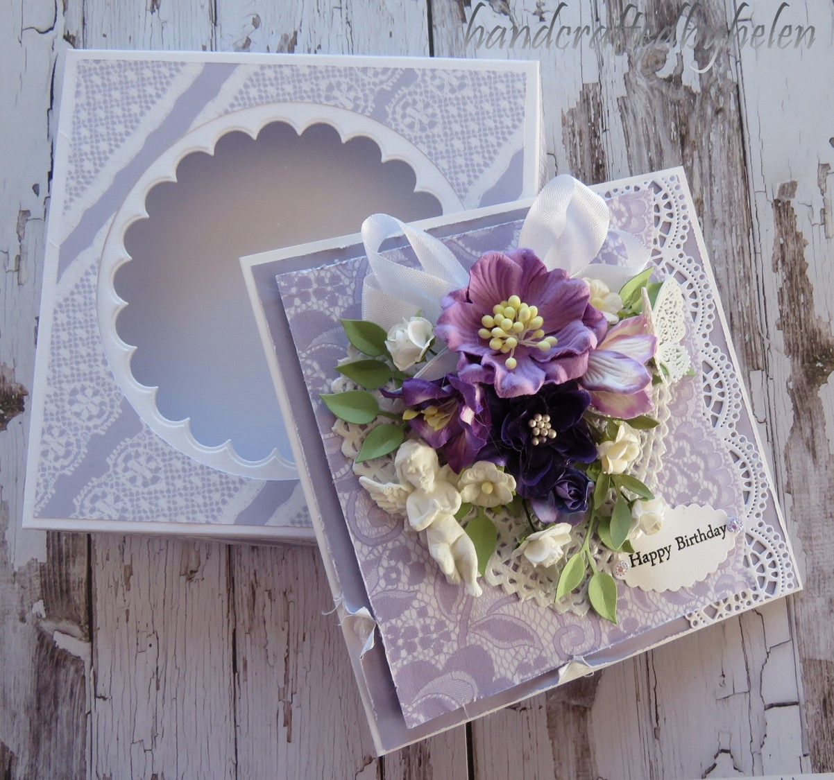 Handcrafted by Helen: Purple lace and flowers shabby Chic card