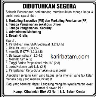 Lowongan Kerja Marketing, Driver (Sopir) dan Security di Batam