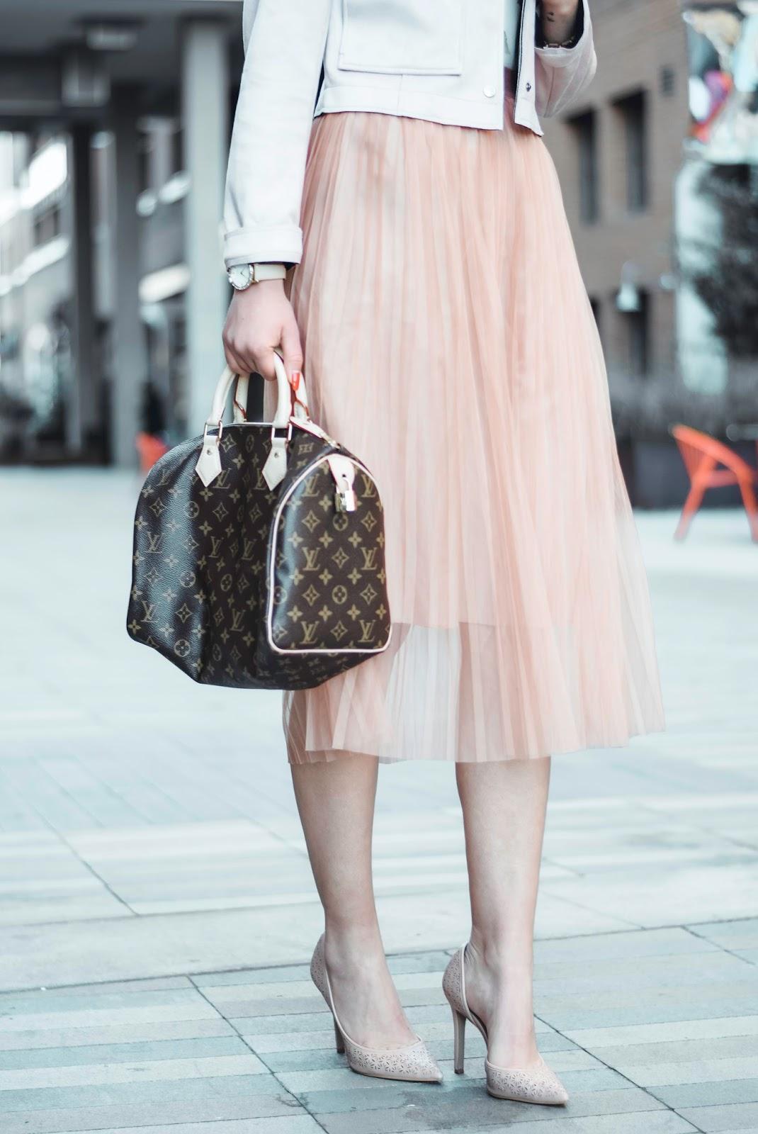 blush tone skirt