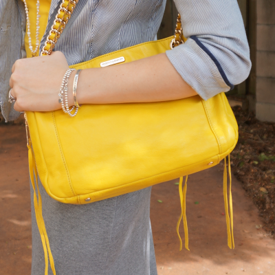 Rebecca Minkoff canary yellow swing bag with grey maxi skirt pinstripe blazer