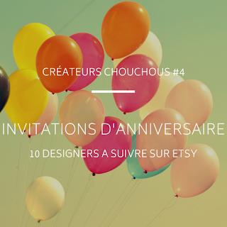 selection de designers d'invitation anniversaire etsy