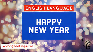 Blue  Sparkling Happy new year 2018 Greeting in English Language