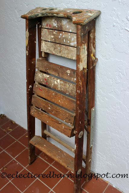 Eclectic Red Barn: Old ladder with platform step