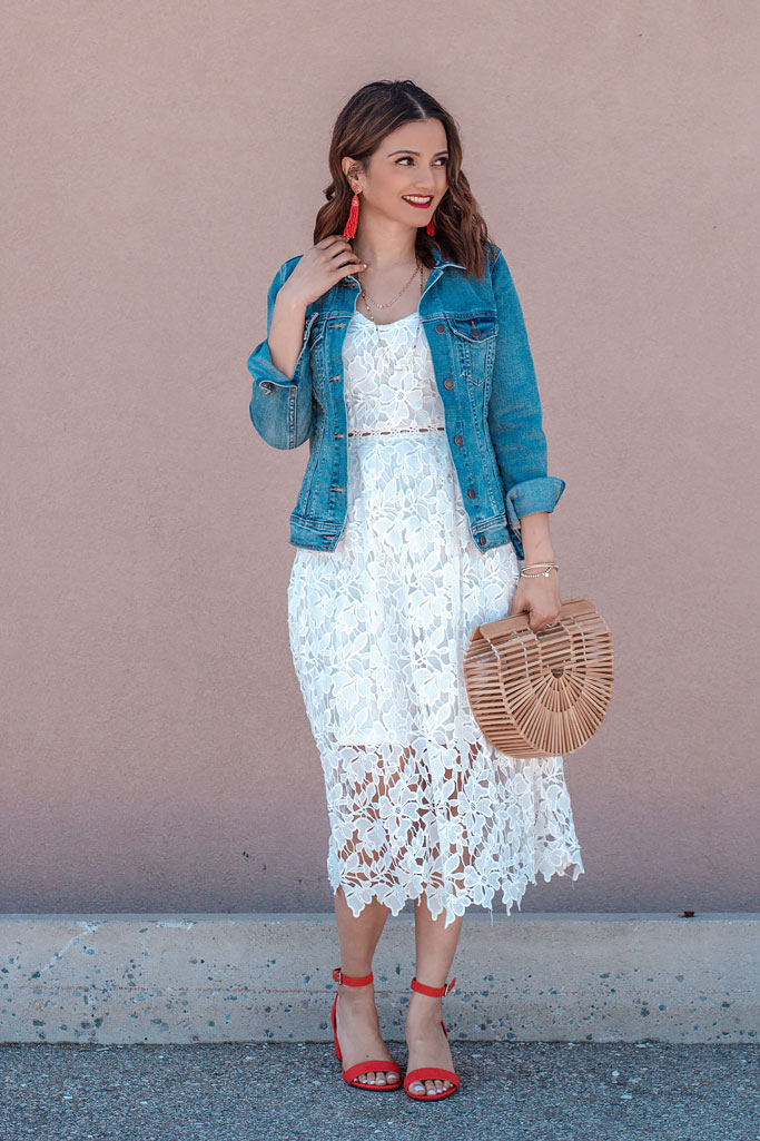 White Lace Crochet Slip Dress Denim Jacket Red Heels Cult Gaia Basket Bag Dupe Blogger Outfit