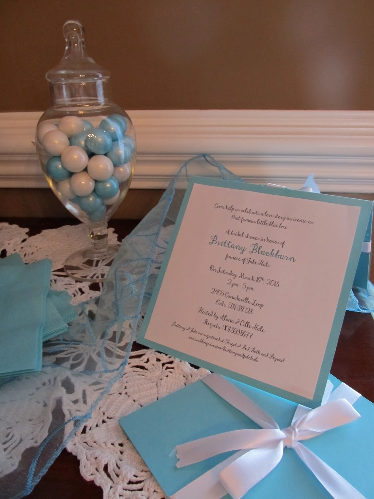 fd7f7a8b91 Mom found some great Tiffany blue table overlays online, so they were my  accents on the tables and throughout the house. We also added sparkle  wherever we ...