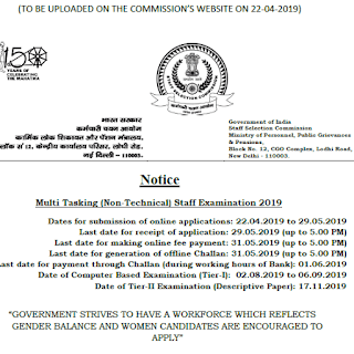 SSC MTS 2019 Official Notification released - Apply Now