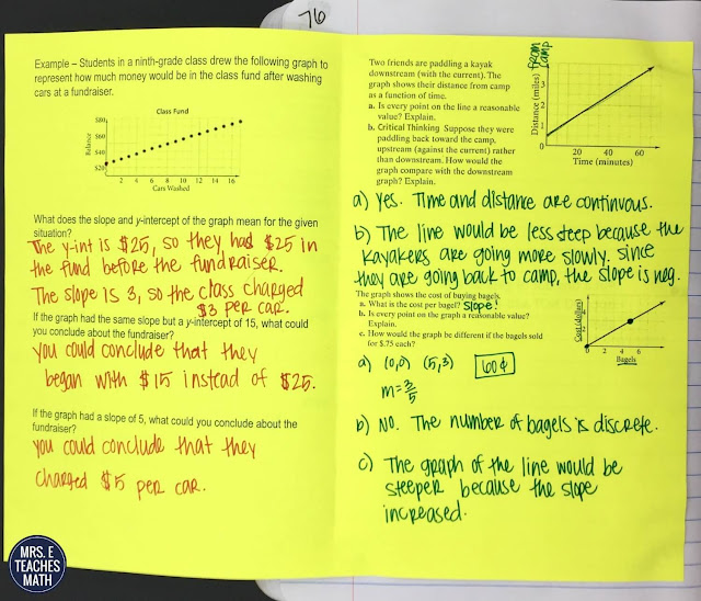 Interpreting Linear Graphs Interactive Notebook Page for Algebra 1