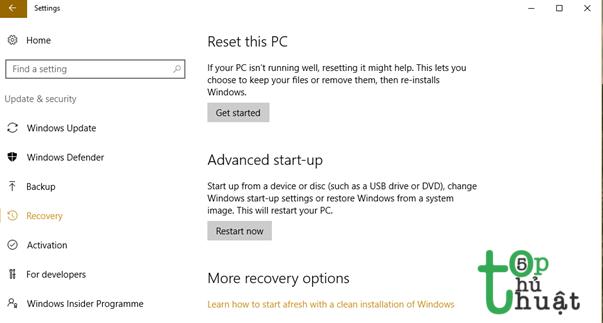 Cài đặt lại Windows 10