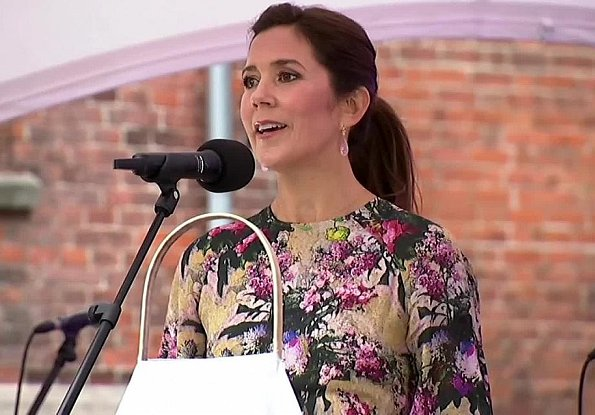 Crown Princess mary wore a new wild flower maxi dress by Rotate Birger Christensen. Jeanette Madsen and Thora Valdimars