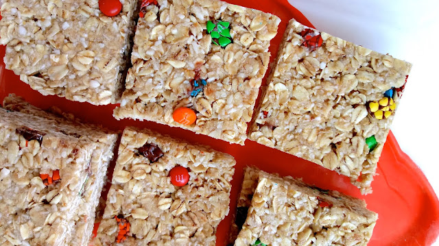 m & m granola bars cut into squares