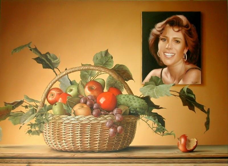 Frutas Retratos e uma Gota - Omar Ortiz | Pintura Sensual Hiper-Realista  - Mexicano