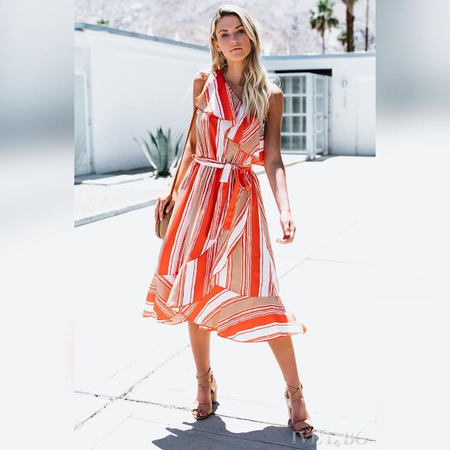 Μοντέρνο μίντι χρωματιστό φόρεμα ADELINA