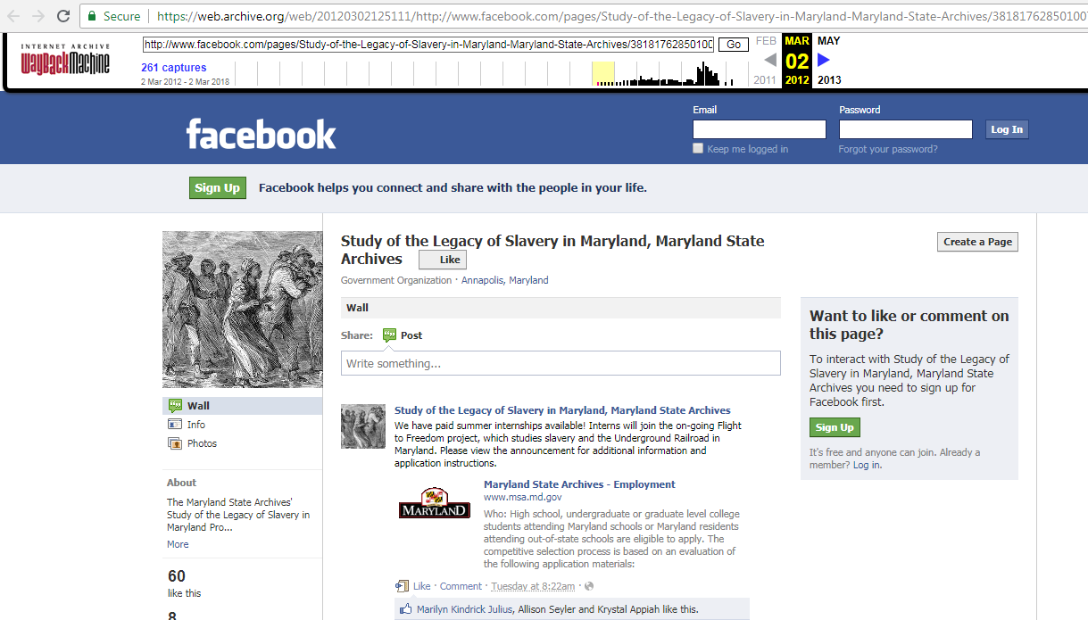 memento for a facebook page in the internet archive captured on 2012 03 02
