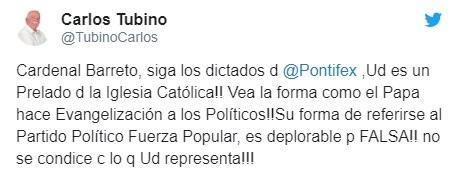Twitter Carlos Tubino contra Barreto