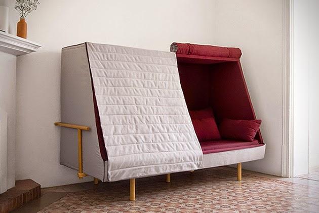 Diseño de sofá cama para una buena siesta.