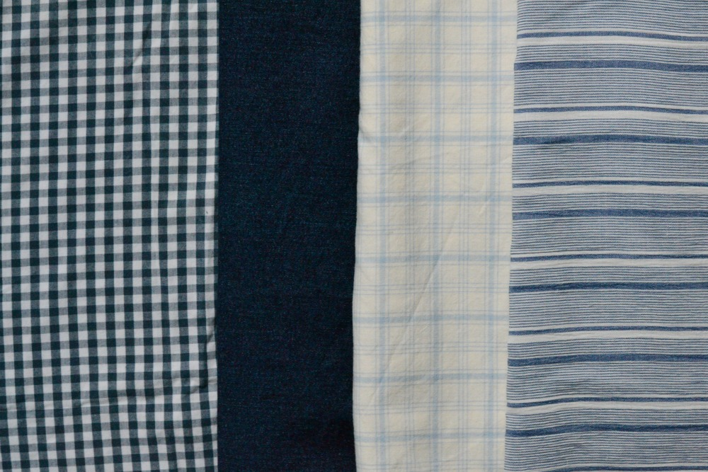 blue fabrics secondhand slow fashion summer of basics stripes denim checks plaid gingham