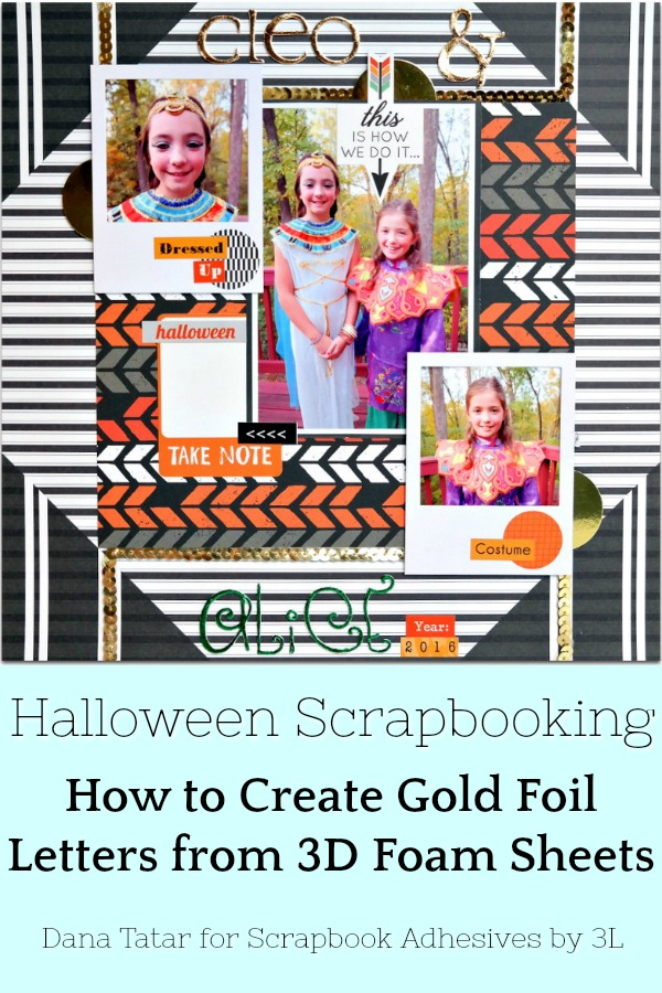 Cleo and Alice Halloween Scrapbook Layout with DIY Gold Foil Letters