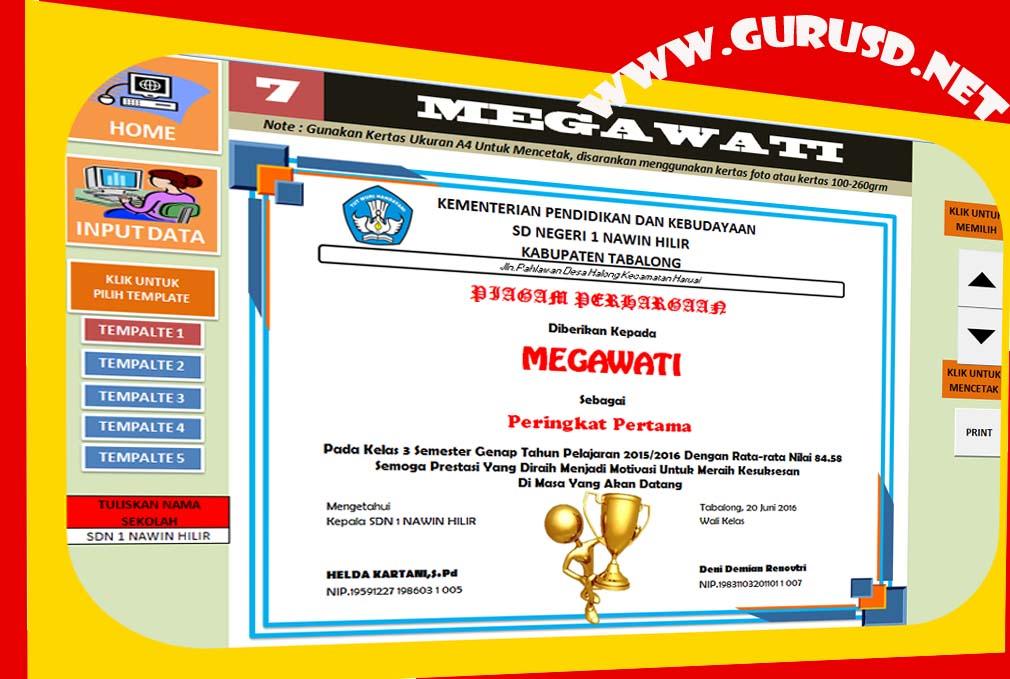 Aplikasi Cetak Piagam Juara Kelas Excel Dengan Lima Template Kurikulum 2013 Revisi