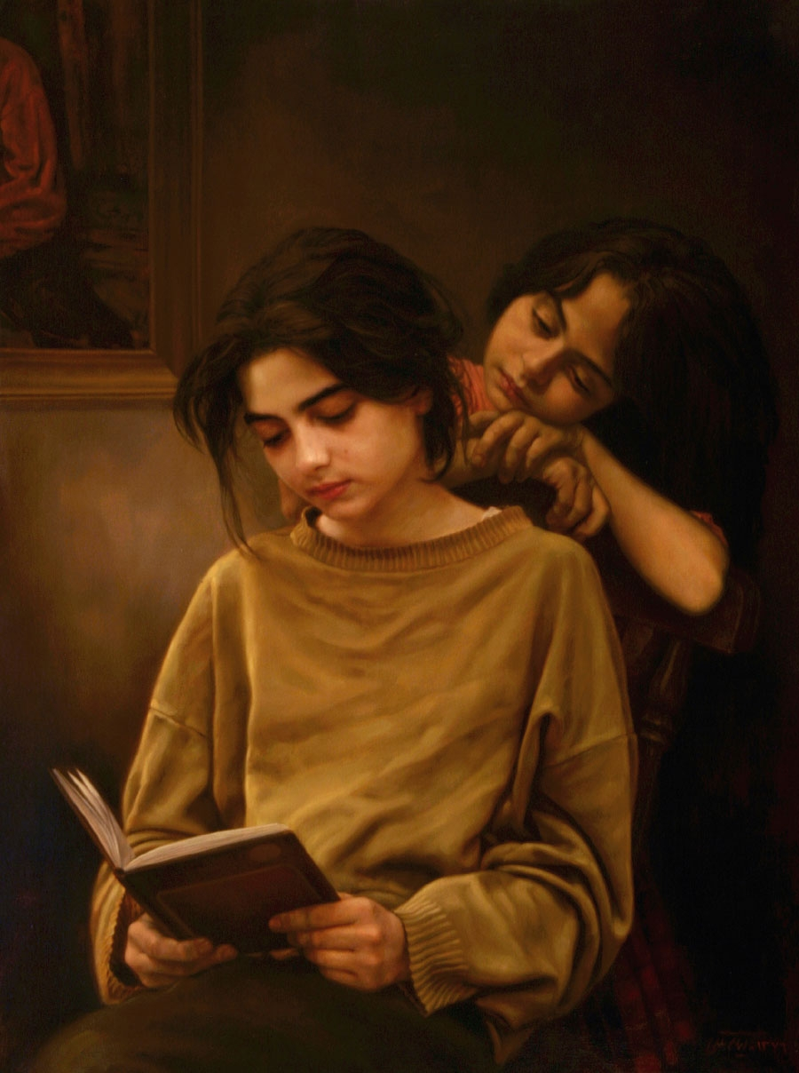 12-Sisters-and-Book-Iman-Maleki-Realistic-Paintings-that-Portray-Intense-Expressions-www-designstack-co