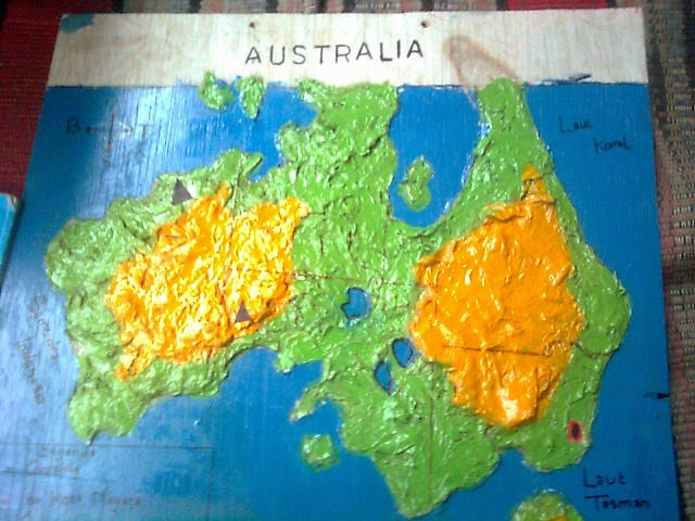Cara Membuat Kreasi Peta Timbul Dari Tepung Kanji dan Koran Bekas