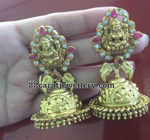 Silver Lakshmi Jhumkas in Pachi Work