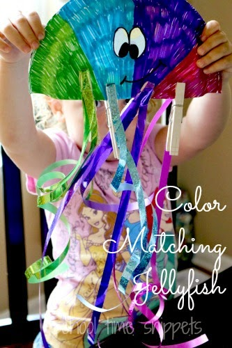 colorful jellyfish color matching activity