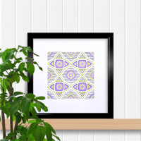 Purple and green repeat with flower motif print, prick stitch on card embroidery pattern.
