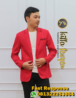 Jas Blazer Pria Merah Casual