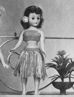 The Vintage Pattern Files: Free 1960's Knitting Pattern - Dolls Hula Skirt & Top