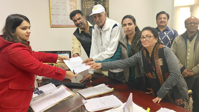 Memorandum submitted to the District Magistrate entrusted by the Joint Struggle Committee against Hooda's illegitimate recovery